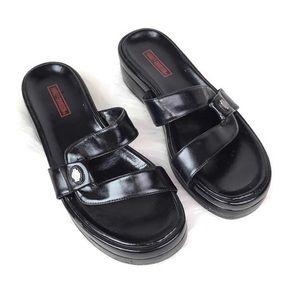 Harley-Davidson black leather platform sandal 7.5
